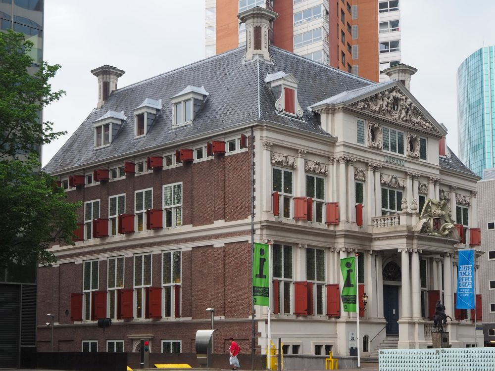 Schielandshuis is a square stately building with a columned entrance.