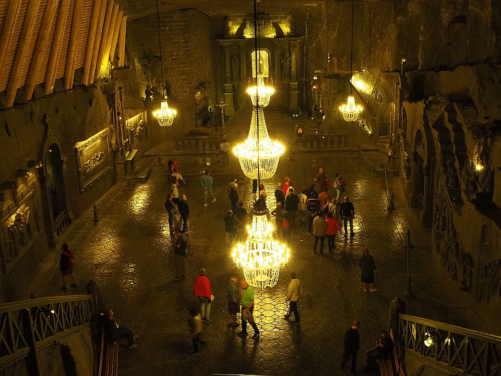 The Chapel of St. Kinga in Wieliczka Salt Mine near Krakow, Poland. Even the chandeliers are salt.