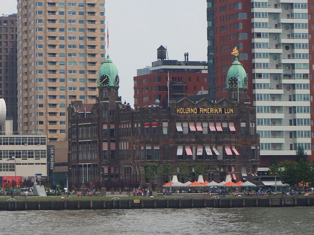 The old Holland-America Line building, right on the tip of the Wilhelmina pier, is surrounded by taller, more modern buildings, but still retains its charm.