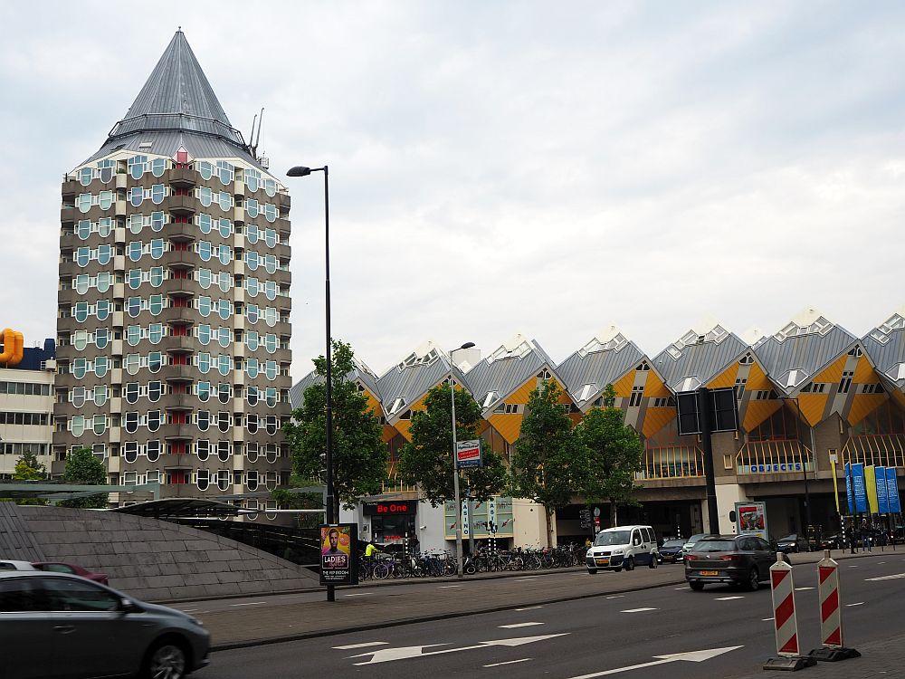 "Piet Blom's ""Potlood"" (pencil), with the Cube Houses next door."