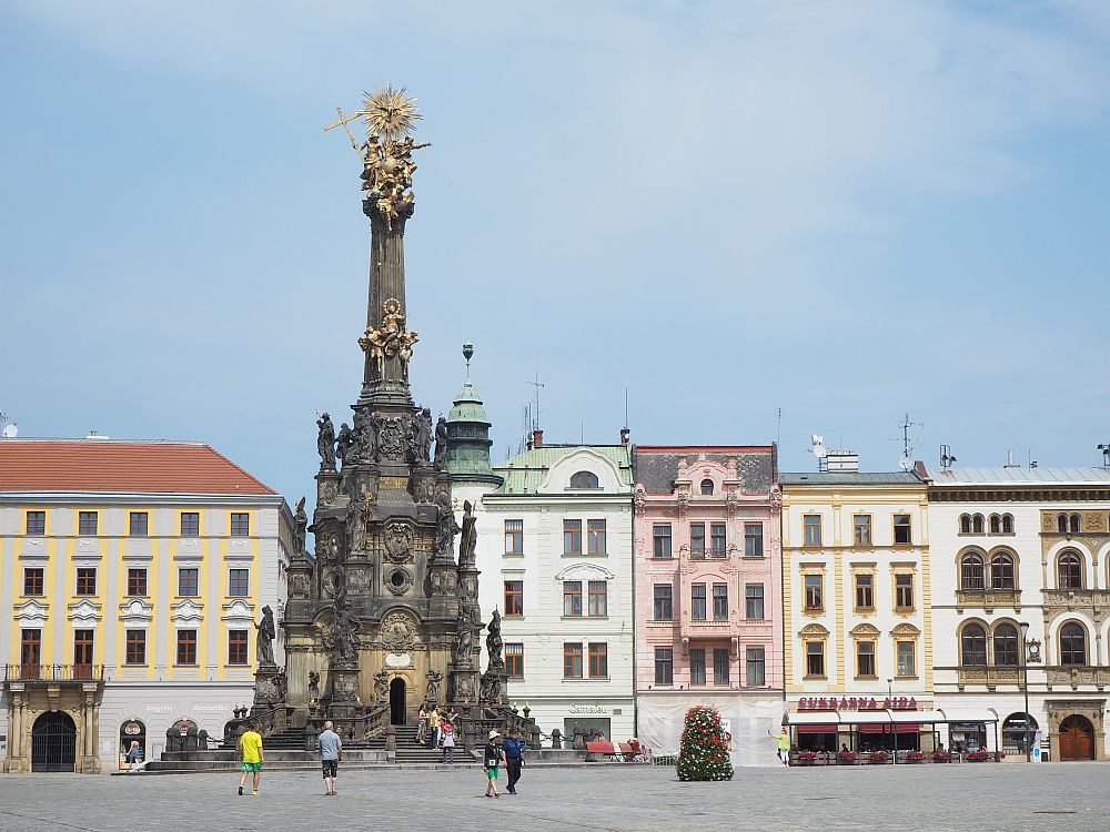 The Holy Trinity Column in Olomouc Upper Square is a UNESCO site in eastern Czech Republic.