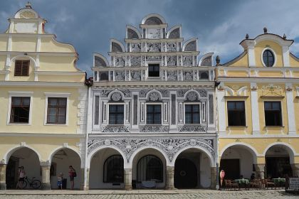 One of the more ornate houses on Telc main square, this one is deceptive in that what looks like sculptural decoration is actually painted.
