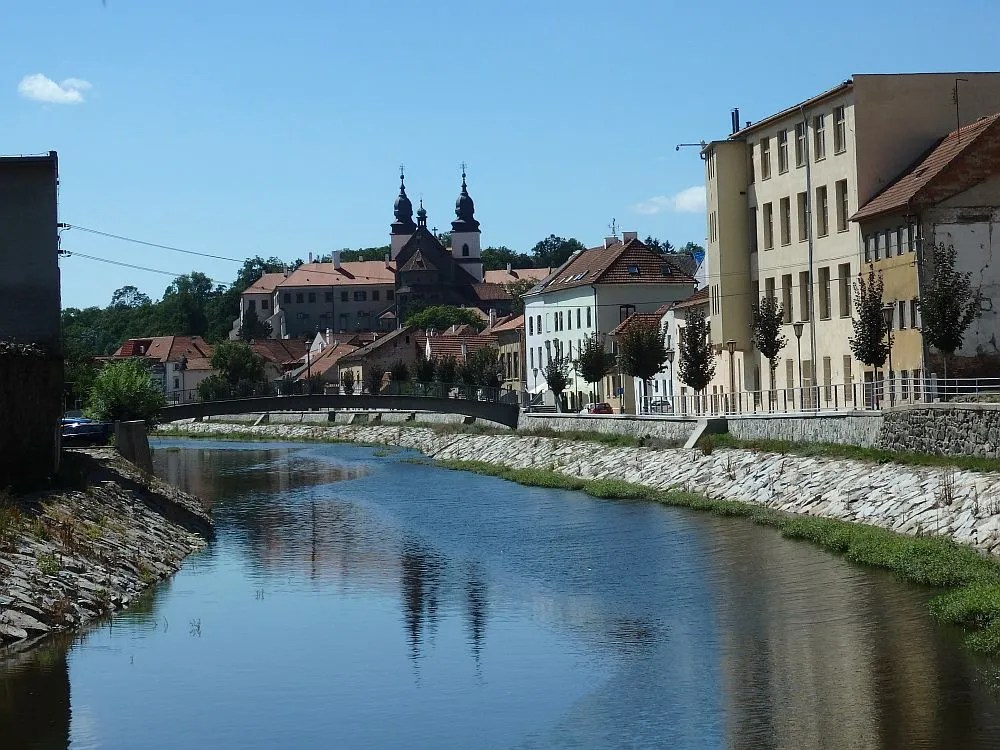 A view of the Jewish Quarter as seen from the Jihlava River. You can see St. Procopius' Basilica in the background