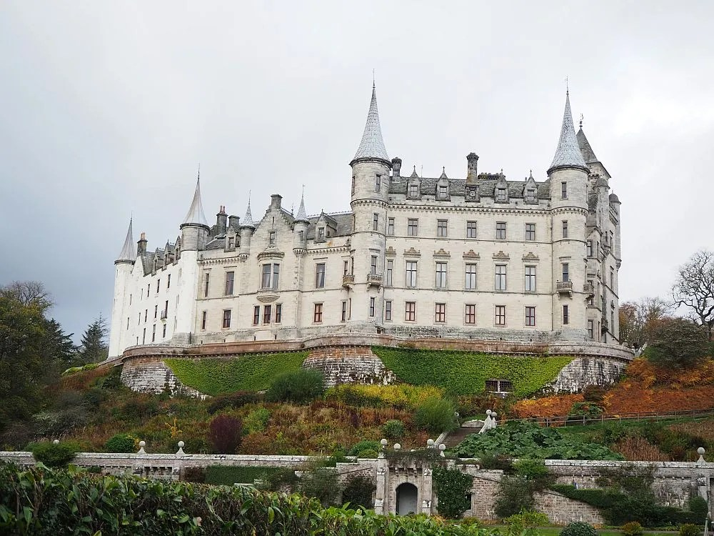 A view of Dunrobin Castle as seen from its extensive garden.