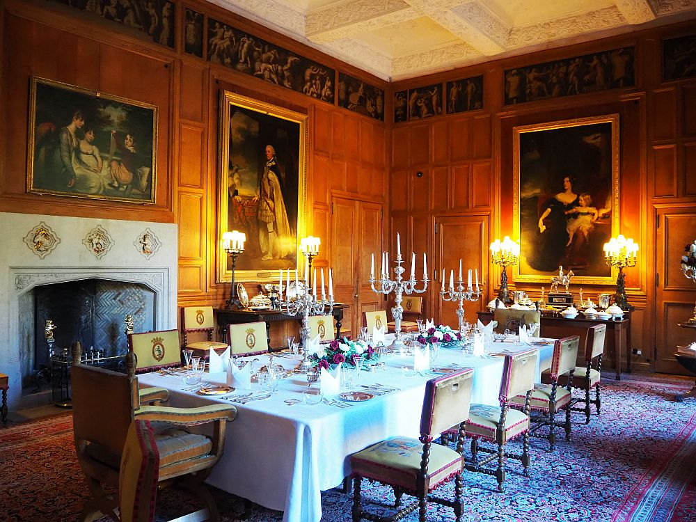 The dining room in Dunrobin Castle, Scotland
