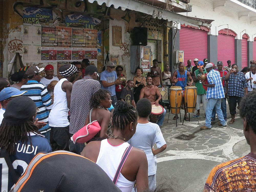 Saturday drumming session in Pointe-à-Pitre