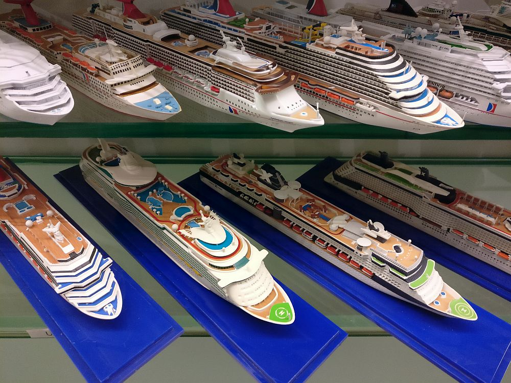 lined-up model cruise ships