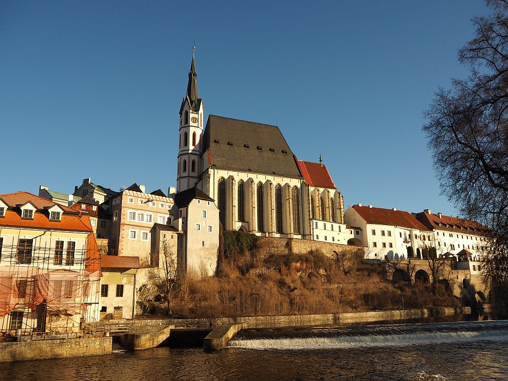 St. Vitus sits dramatically on a small rise above the river in Cesky Krumlov.