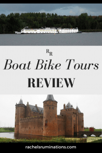 PInnable image Photos: the riverboat above and Muiderslot castle below. Text: Boat Bike tours review