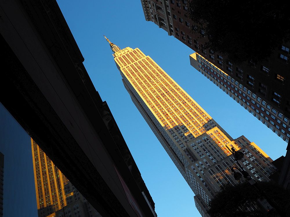 The photo is taken at an angle to allow the whole Empire State building to fit in. It extends diagonally across the picture against a blue sky.