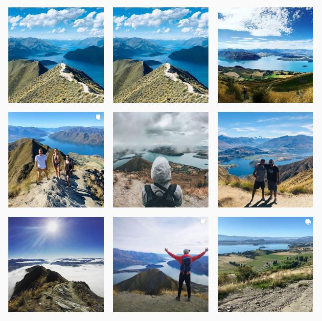 9 photos of Roy's Peak. All but one have similar views overlooking the lake with mountains in the distance. The other is a different scenery view. 4 of the 9 have people posing in front of the scenery.