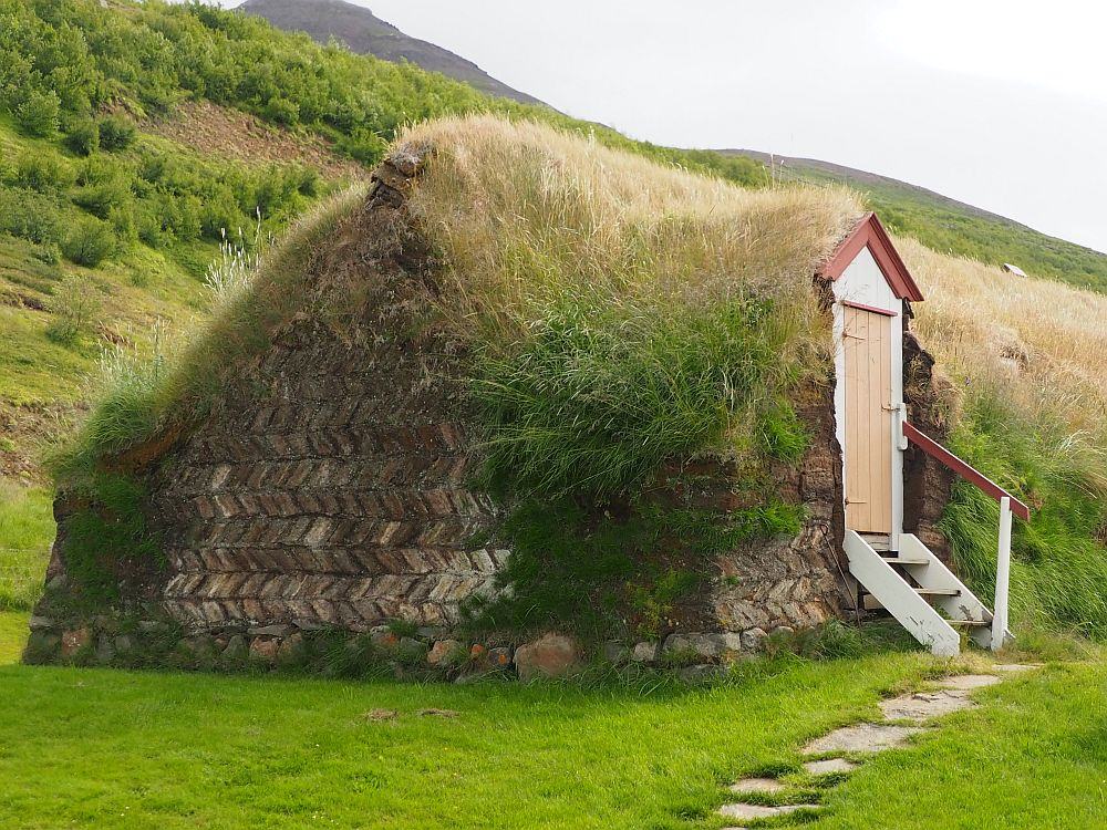 """The """"house"""" looks almost like a grass-covered hill except that the side facing the camera has visible brown turf bricks in a herringbone pattern. On the side is a door leading into a grassy turf wall. A few short steps lead up to the door."""