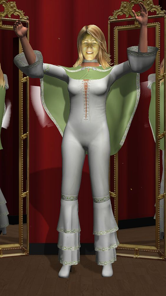A digital image of a woman whearing white spandex skintight jumpsuit, laced up the belly and chest, with a three frills below the knees, a light green cape attached around her shoulders, 3/4 sleeves, again with a frill at the end of the sleeves. Here arm are raised outward, bent upward at the ellbow. Her hair is light brown and the face is mine, lookng a bit greenish.