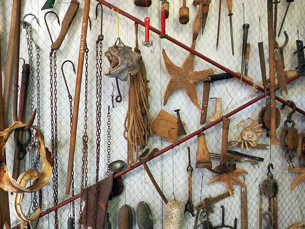 A wall with chicken wire attached to it, and a collection of things hanging in front of the chicken wire: a dried fish head, a hank of rope, several starfish, a shark's jawbone, lots of fish hooks and implements for repairing nets, buoy floats, etc.