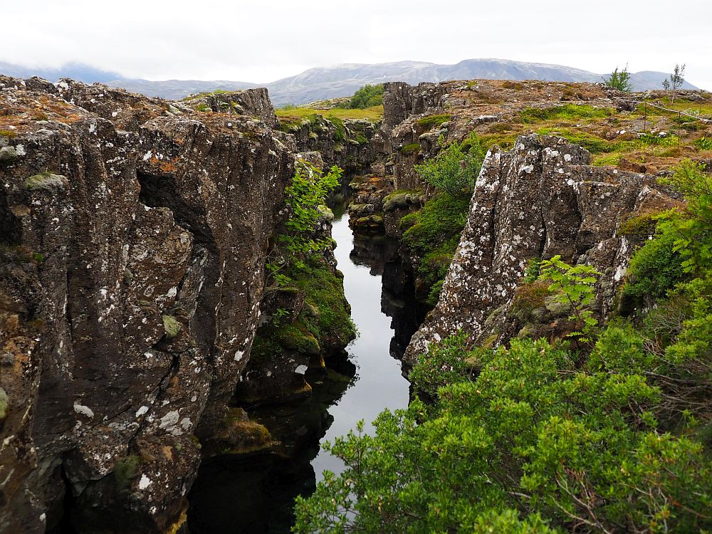 Steep cliffs on either side in dark brown rock with lighter flecks. Between them, a river flows below.