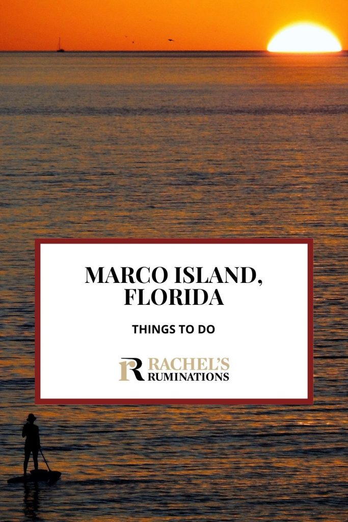 PInnable image Text: Marco Island, Florida Things to do (and the Rachel's Ruminations logo) Image: a sunset: The sun is a bright semi-circle on the horizon at the very top of the photo. The sky is bright orange. The sea fills the rest of the photo, quite dark blue and very calm. Bottom left, a paddle-boarder in silhouette.