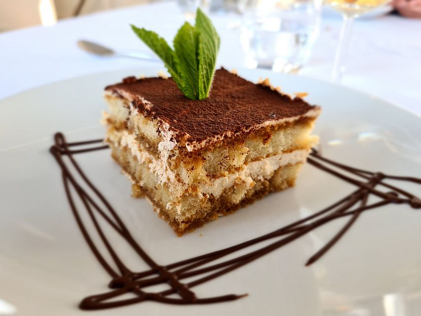 A neat square of tiramisu with a decorative dribble of chocolate sause around it and a sprig of mint leaves stuck up in its center.