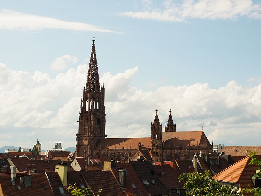 the cathedral seen from about the level of the surrounding rooftops, which are visible in the foreground. The cathedral is seen from the side, with the spire on the left and two smaller spires toward the middle. The spire is latticed so that the sky can be see through lots of holes.