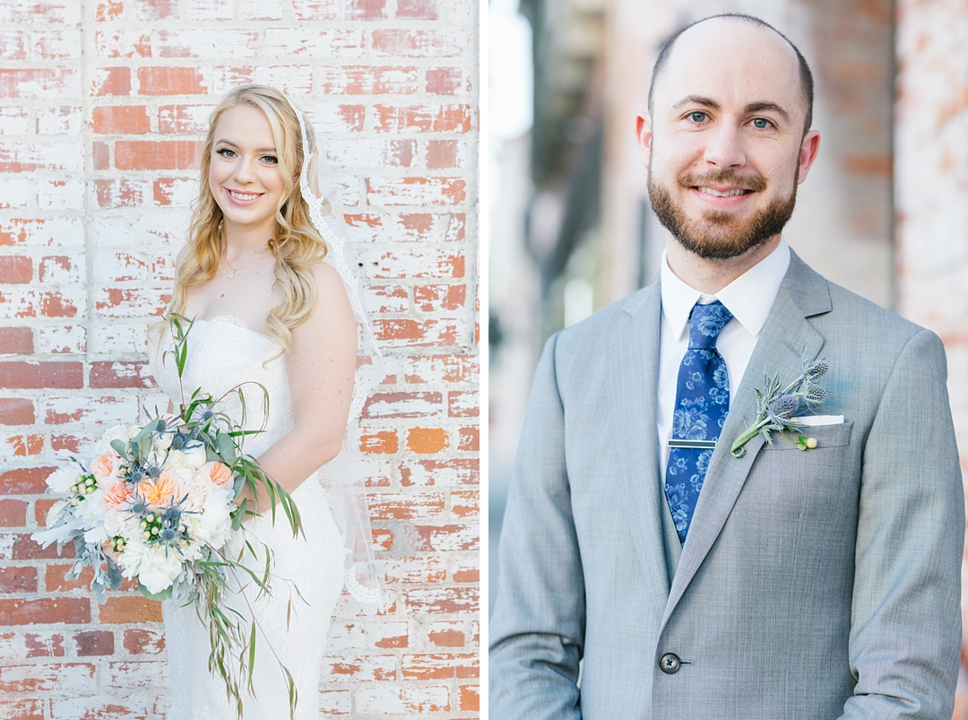 side by side portraits of bride and groom at carondelet house