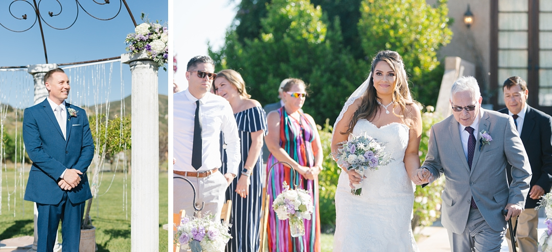 bride and father walk down aisle at gershon bachus vintners