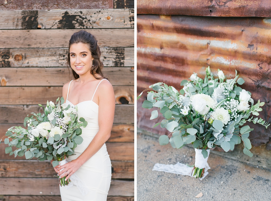 bridal portrait and bridal bouquet against rustic wood and metal