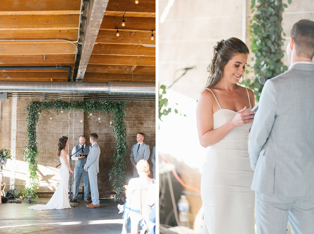 bride reads vows at smoky hollow studios