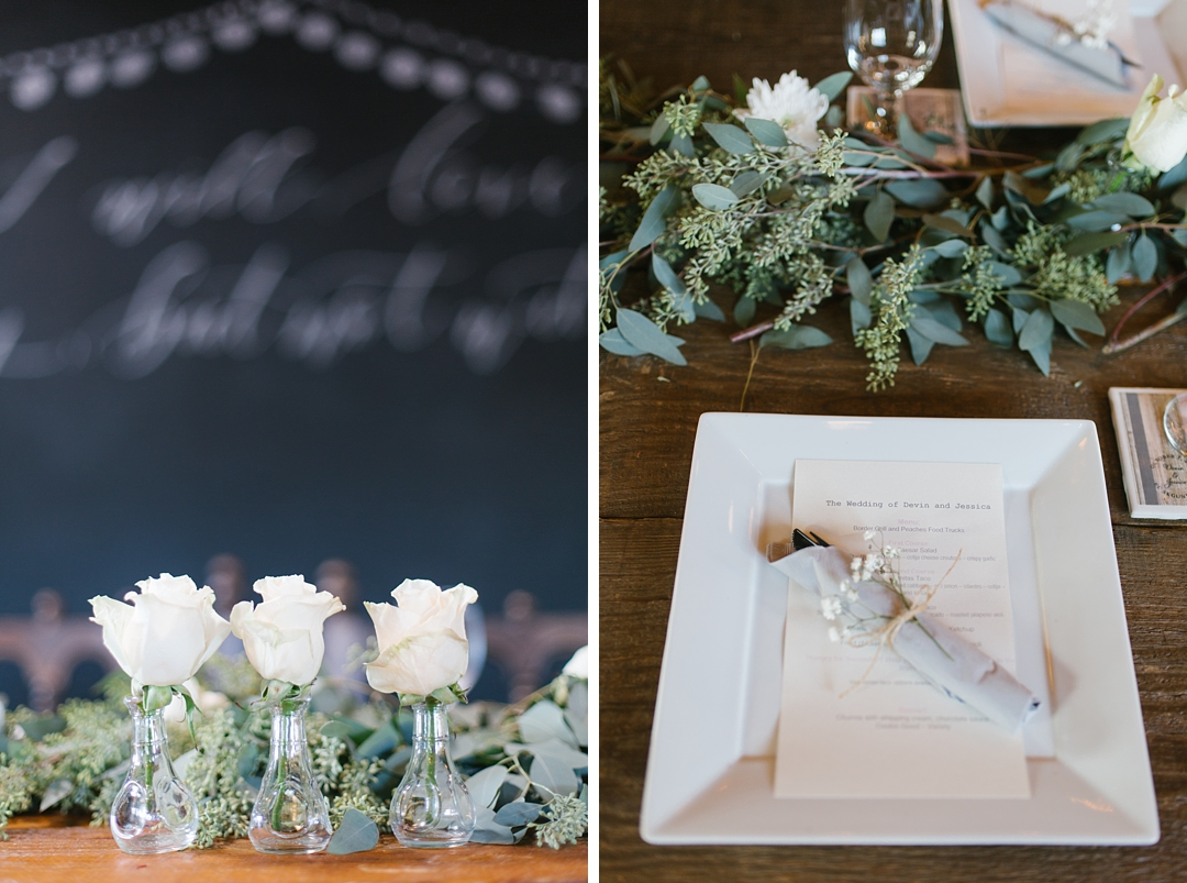 white roses in vases and tabletop decor