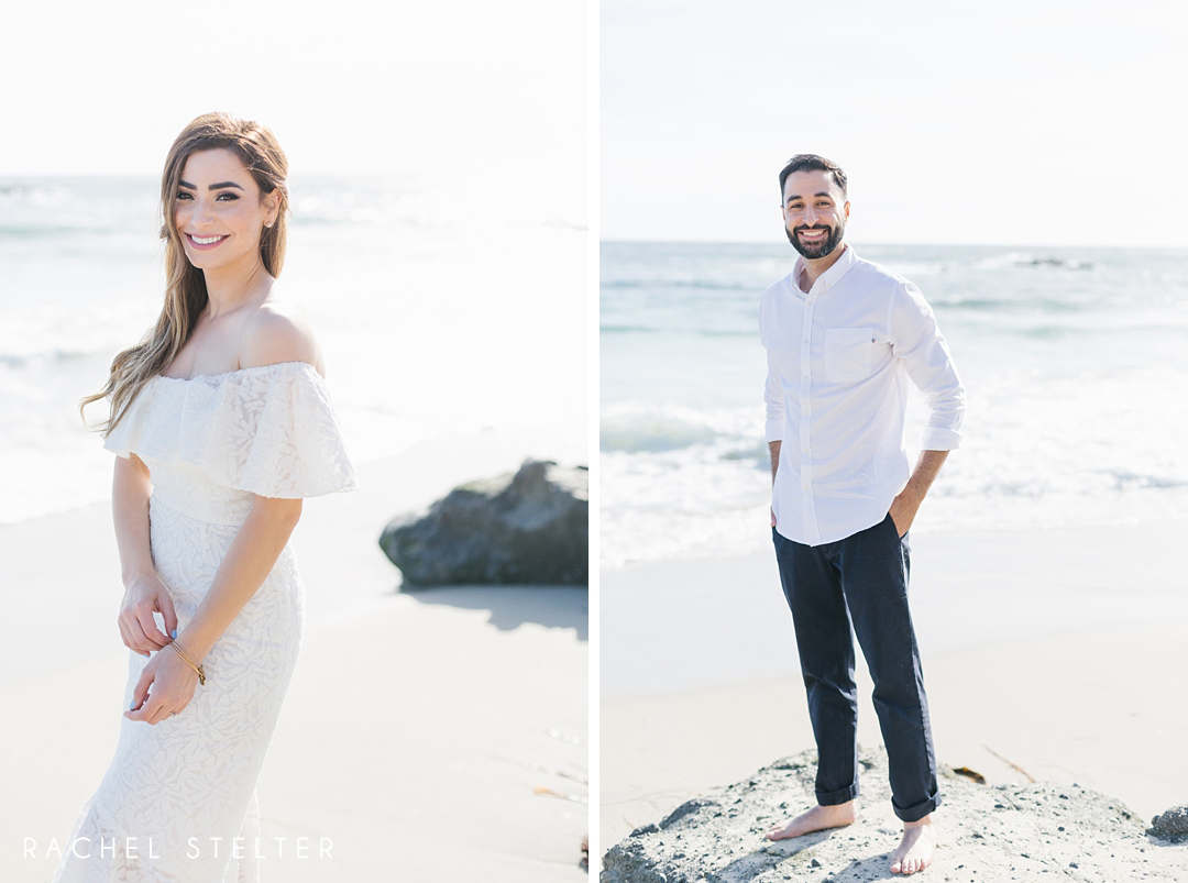 portrait of bride and groom to be from romantic beach engagement session