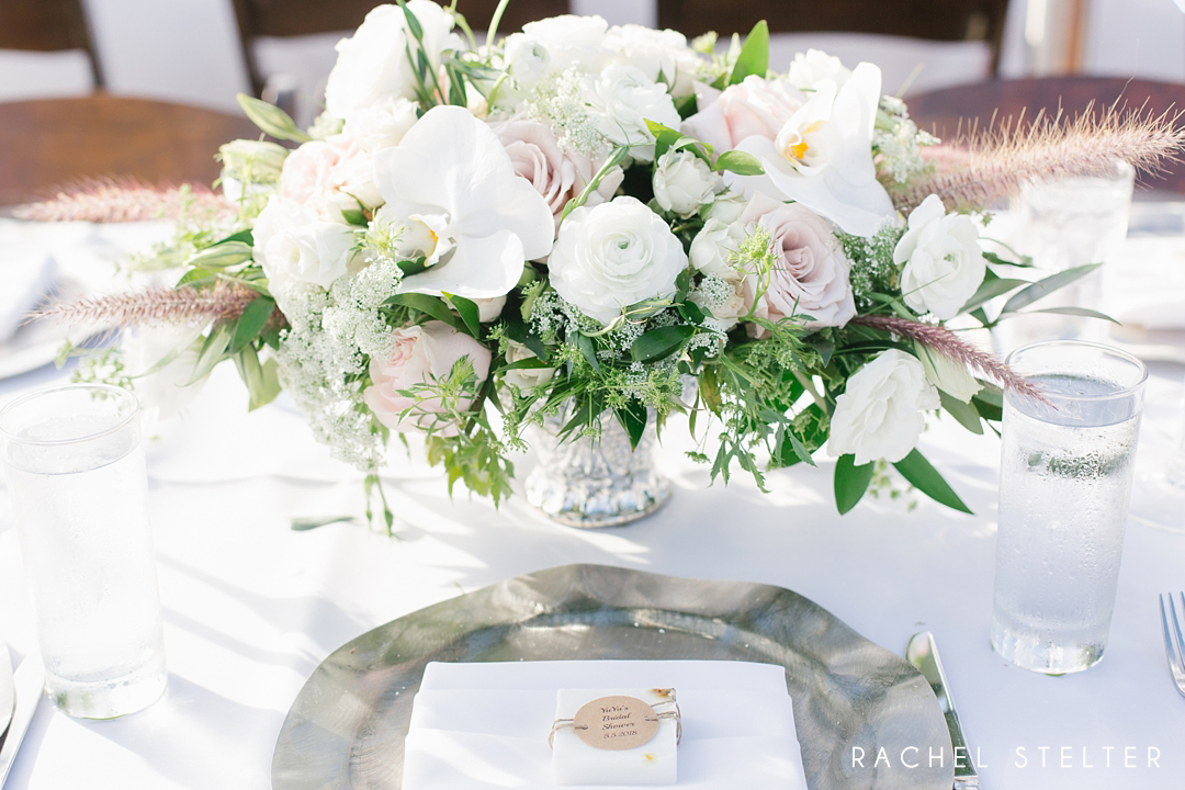 floral centerpiece from romantic laguna beach bridal shower