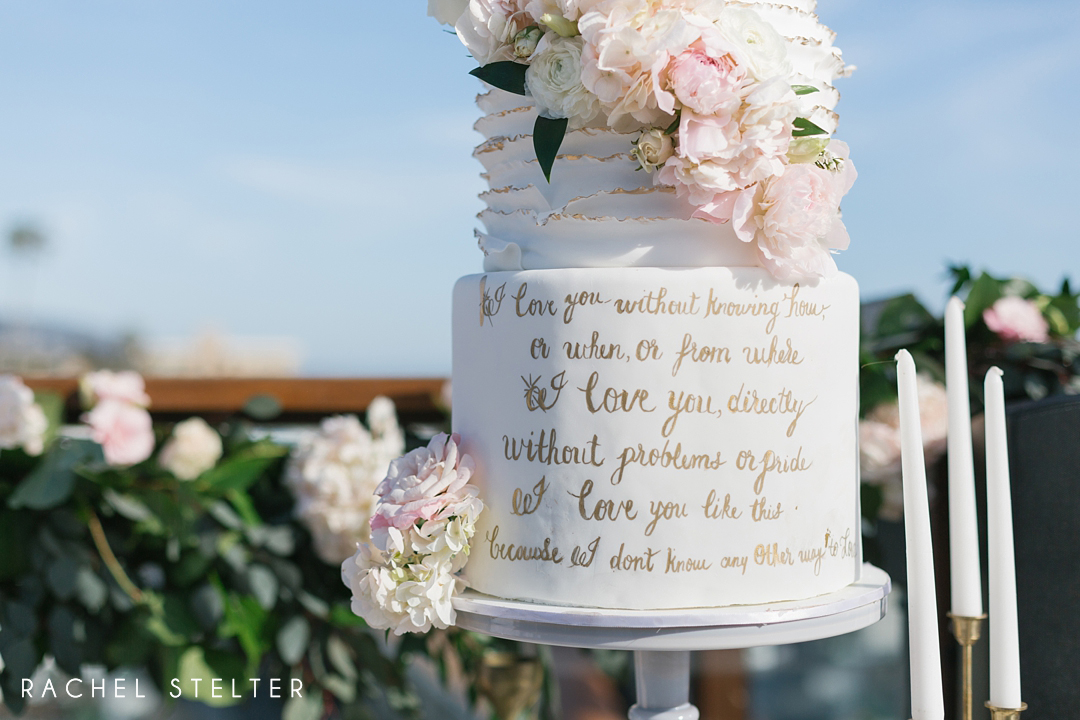 romantic quote on bridal shower cake