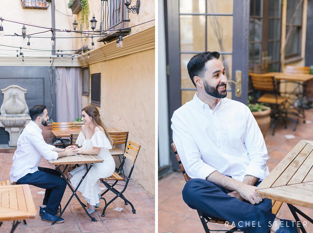 couple sits in courtyard at la casa del camino