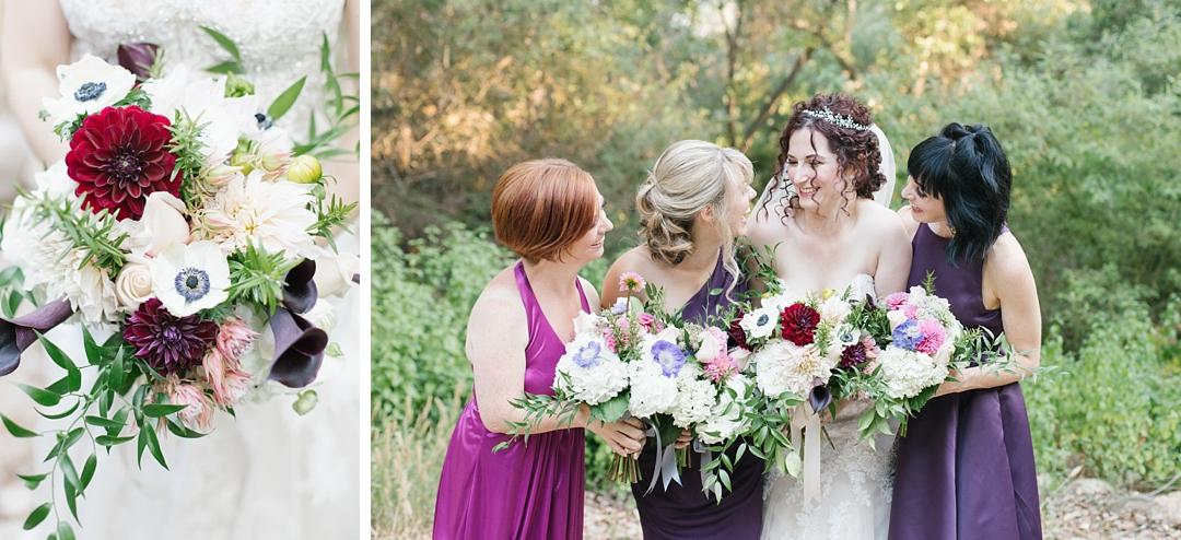 jewel toned bridal party at topanga canyon wedding