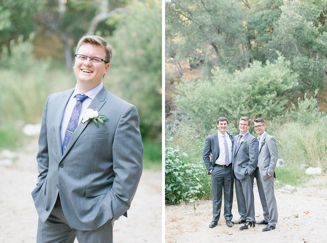 groom and groomsmen wearing grey