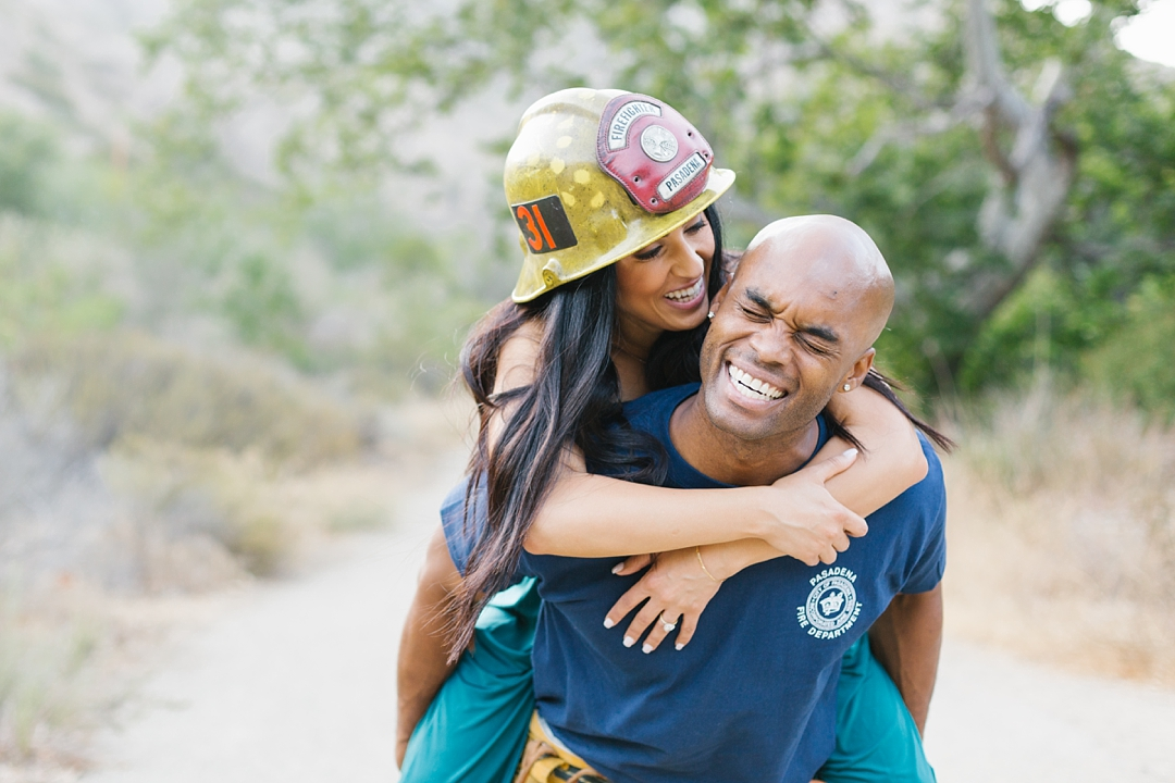 firefighter uniform malibu engagement session