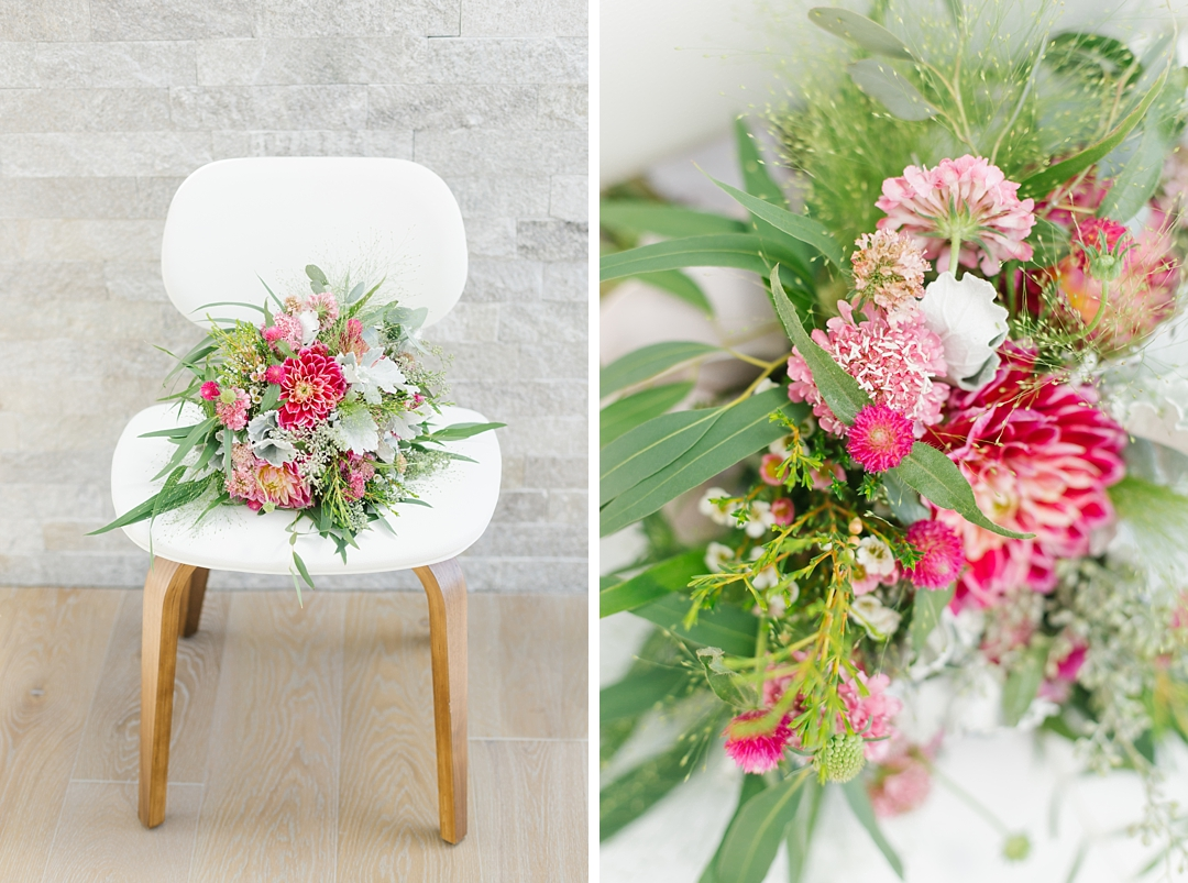 colorful bouquet at boho backyard wedding at palos verdes private residence