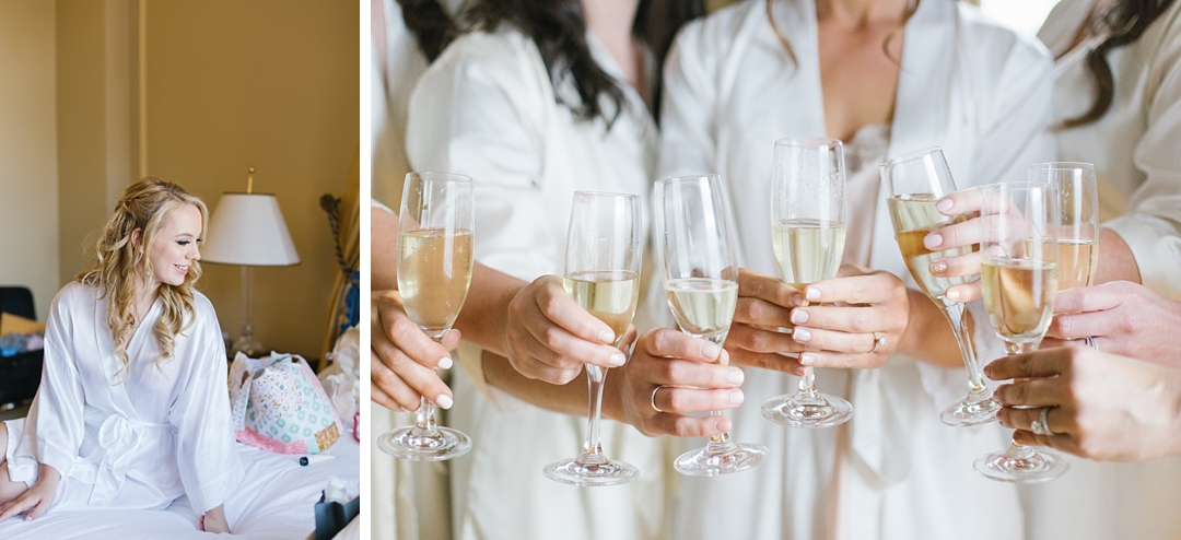 bridesmaids in robes and wedding timeline tips