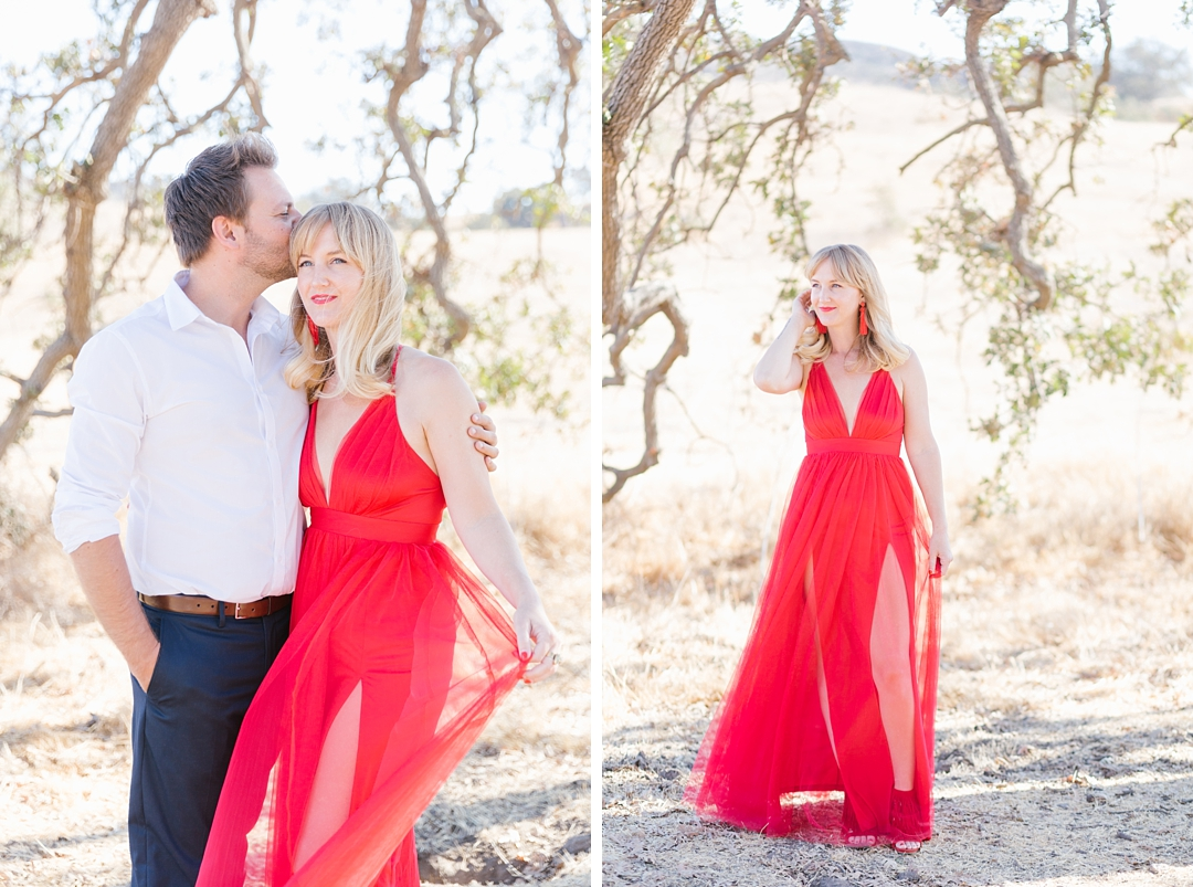southern california anniversary session with red dress