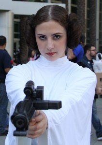 Princess Leia cosplay marked for reuse from Wikipedia -- Anaheim, 2015