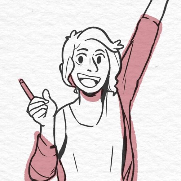 Happy woman raising her hand