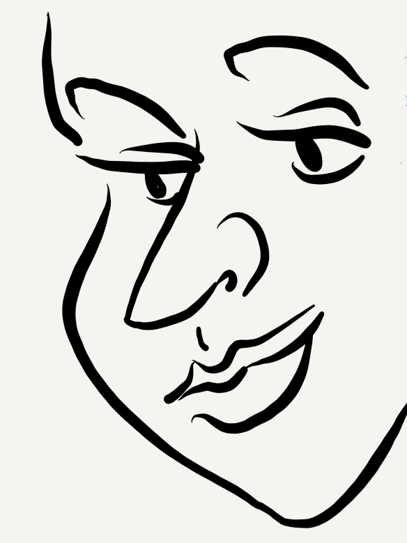 [image description: line sketch of a woman looking off to one side]