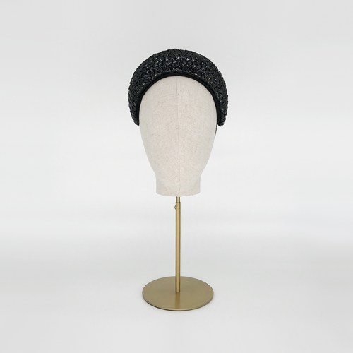 Black racello straw headband