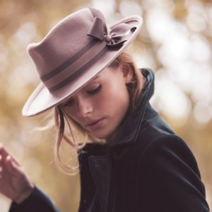 Powder pink fedora with grosgrain bows