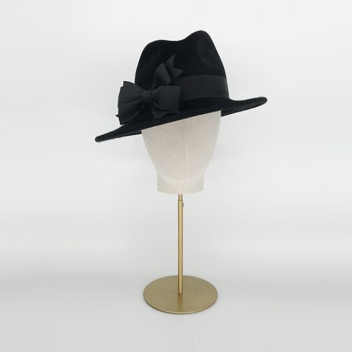 Black felt tall crown trilby