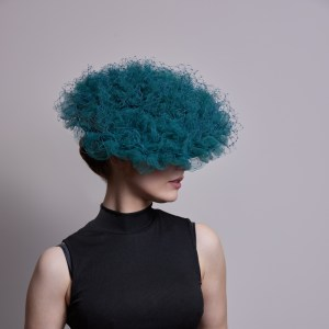 Teal gathered veiling coolie