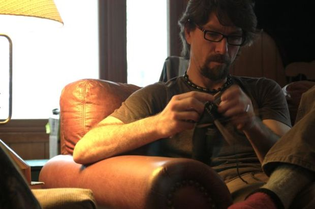 Man knitting! | Clean : : the LuSa Organics Blog