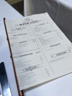 Nicely designed wine list - and you can also use it to flag down your waiter!