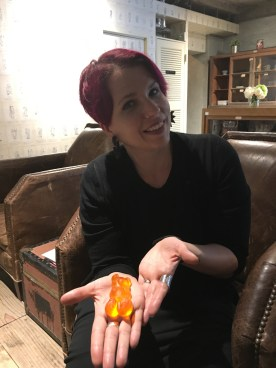This gummy bear was nearly the size of Beth's head.