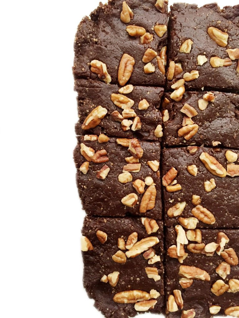 3-ingredient Raw Pecan Brownies made with all paleo, vegan, gluten & guilt-free ingredients