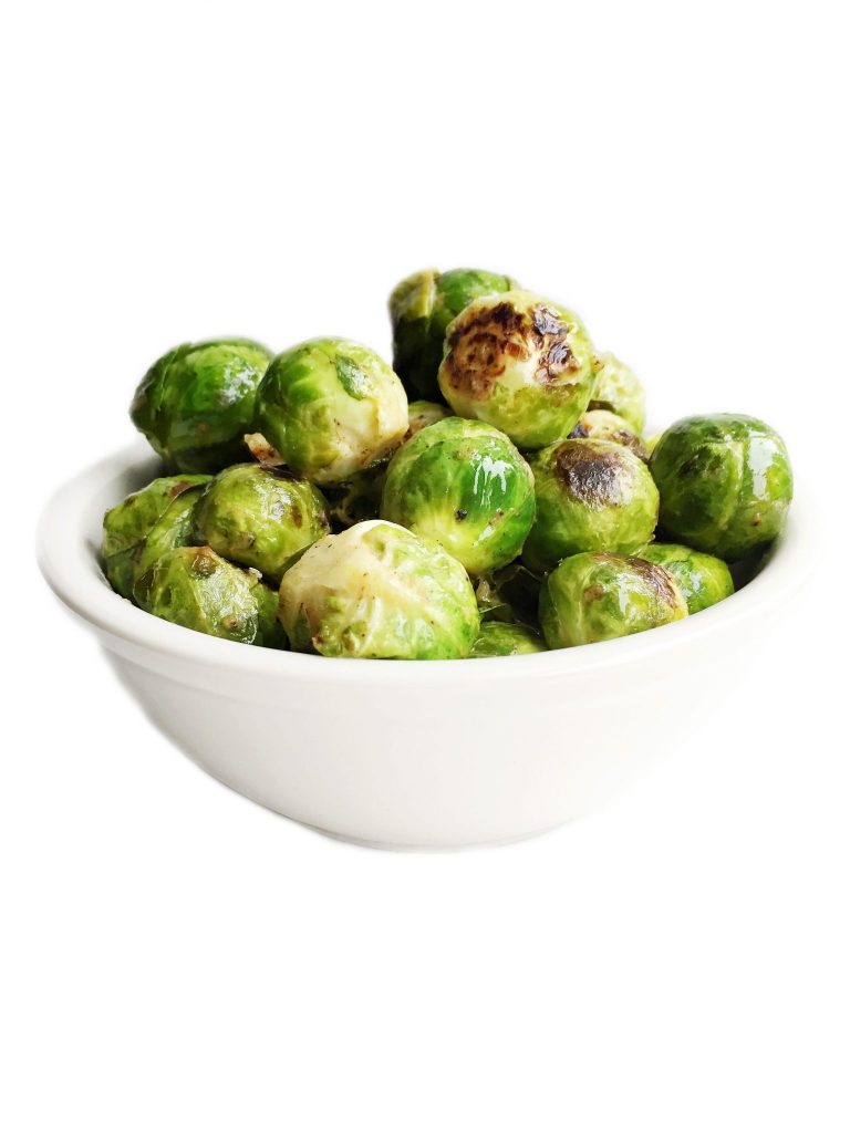 Vegan & Gluten Free Crispy Dijon Brussels Sprouts made in less than 20 minutes
