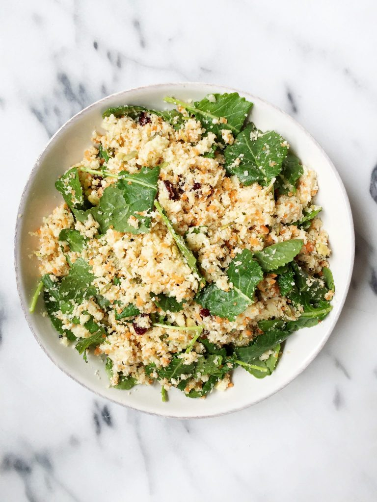 Grain-free Cauliflower Rice Salad made with 7 ingredients & ready in 10 minutes